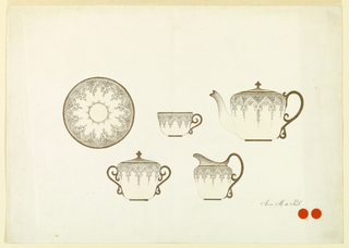 Horizontal rectangle. Design for the decoration of a cup, saucer, teapot, creamer, and sugar bowl. Design in gold on light yellow background.