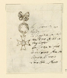 Design for a papal medal. At top, a knotted bow, from which hangs a round ring, from which hangs a Maltese cross. Inscription at right.