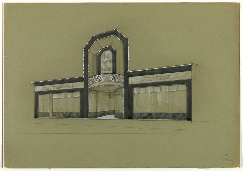 Drawing, Design for Store Facade of Mappin &Weeb in the Art Deco Style