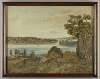 Chenille and silkwork landscape picture with painted sky and water worked in silk floss and chenille yarns in various browns, greens, golds, and pink.  A bay or river-scape: in the foreground, a forested area with a small farm.  On the opposite shore, a large town.  From the right, two points of land (or islands) jut in, each with houses.  Many boats on the water, both sailing vessels and row boats. The buildings and fences are satin stitch, while the land masses, trees, etc. are dense chenille work.