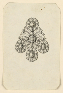 Jewelry design for an earring. Above a disk, below three drops, each in the shape of a blossom. In the center a palmette. Bevelled corners.