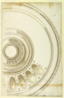 Design for a circular bowl or plate decorated with ovals, framed with woven, scaled and facetted bands and beading