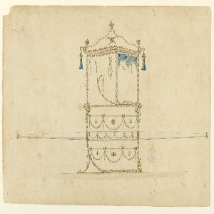 Shown in profile turned right is a window with a curtain.  In the panel beside hands a garland from a bow-knot and rises a scroll obliquely from the lower right corner.  The panels above and below the bar, which is decorated like 2 with festoons hanging from a horizontal rope.  At the upper corners of the central panel are cornucopias.  The roof is triangular and has on top and the lower corners royal crowns.  Tassels hang down.