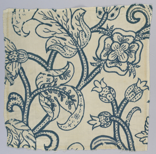 Square section of massive design of broad twining dotted stems with heavy curling decorated leaves and large flower-heads including the Tudor rose. In greenish-blue wool on ground of undyed cotton and linen twill. Dye said to be wood.
