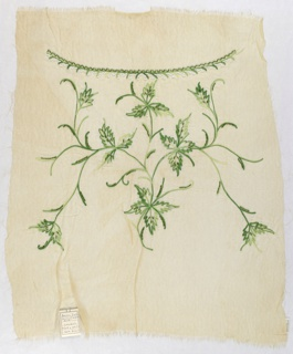 Off-white chiffon embroidered with a floral motif worked in green bugle beads, white seed beads and green silk chain stitch.