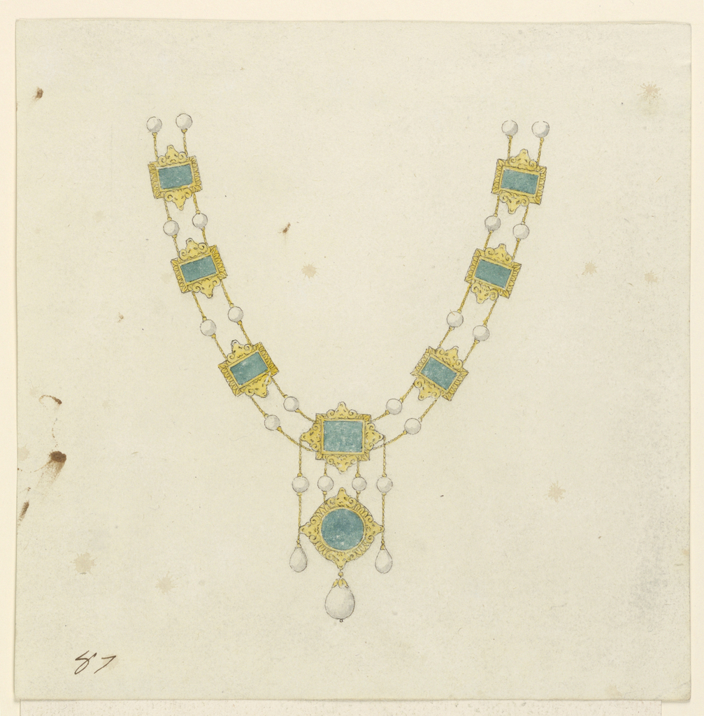 Drawing, Necklace with Pendant, 1800–1825