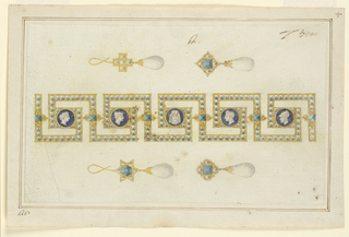 Drawing, Bracelet and earrings, 1800–1825
