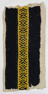 Border with three stripes of embroidery. Center stripe is black and yellow drawn work with stripes on either side of black embroidery on white cotton in a pattern of stylized tulips and daisies.
