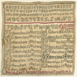 "Square sampler worked in green, red, and black on a natural ground. Family record arranged in two columns listing dates of birth from 1722- 1831.  Three alphabets at the top and an inscription at the bottom: ""Mary A. Fox's Sampler Done in the Year 1814."""