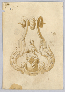 Design for a doorknocker with a woman seated on a sphere between two scrolling acanthus leaves. Below, a banner inscribed: VINCENTI