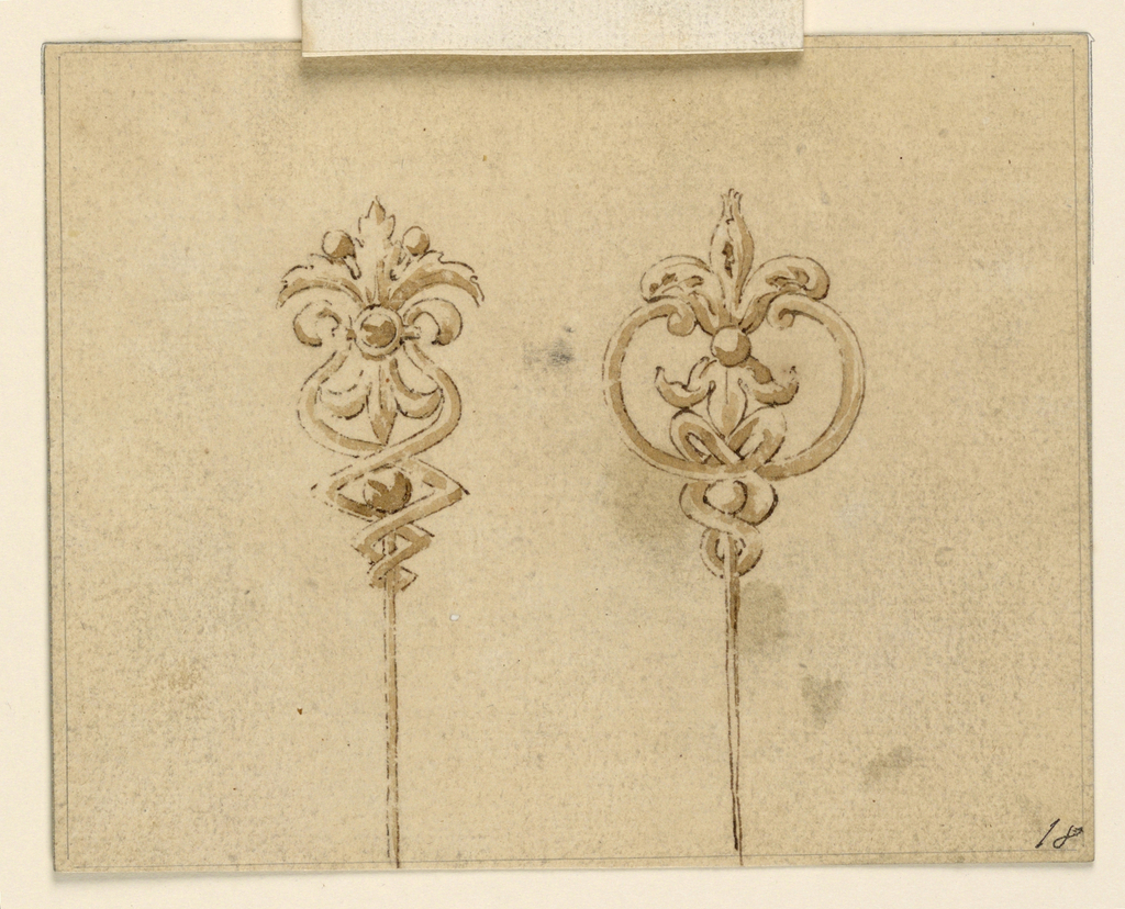 Drawing, Design for two hairpins, 1825–50