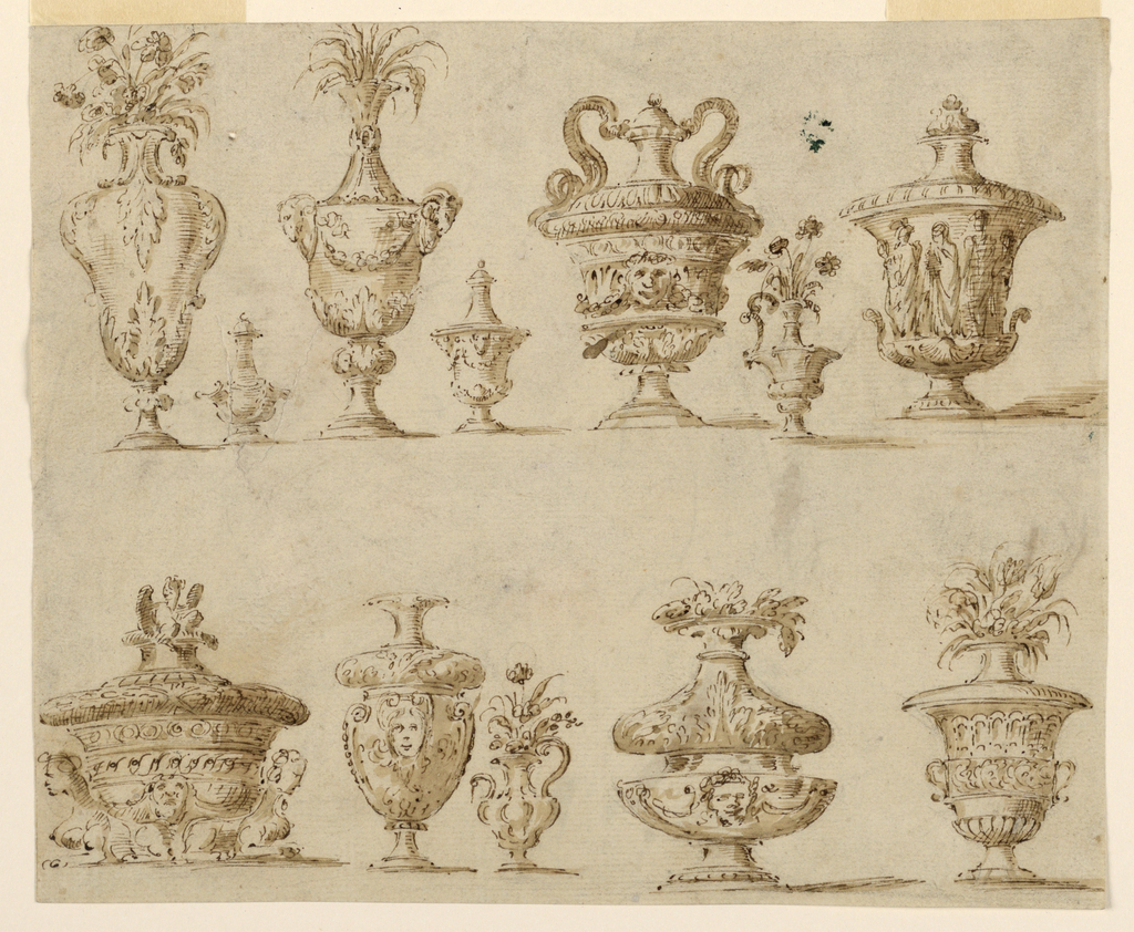 Drawing, 12 decorated vases and urns, 1750–75