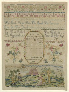 In the center, a prayer with flowering sprays on either side; at the top, alphabets and verse; below scene with shepherd and shepherdess and animals on a lawn before a house.