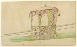 Shown from the left front corner.  Plant motifs stand in the middle and at the corners of the roof.  Tassels hand from the latter.  Festoons with roses hand from the entablature.  The panels are framed by garlands consisting of acorns and pairs of leaves.  Ovoid medallions are shown below and beside the windows. That at the doors shows an urn, that below the lateral window a fashionably dressed man sitting beside a pyramid, that beside it a woman with a sensor leaf.  Festoons and rosettes are amply used in the decoration.  The disk with the superimposed garland occurs too.  The foot is framed by a winged sphinx.  The bar is decorated in the width of the chair with two intertwined garlands.  The mountings of the bar are shown at left standing upon a meadow.
