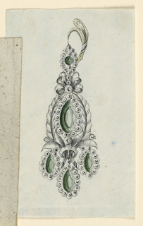 Jewelry design for an earring. A ring with two slopes, a pointed oval fastened to it. Below it a knot on top of an oval green diamond, framed by a row of beads and two laurel branches which are fastened below by a ring. Hanging are three drops: green diamonds with a framing row of beads.