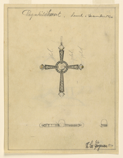 """Latin cross form with circular element at center surrounded by a ring. Each end of cross features a curved prong where a sphere is placed. Graphite markings throughout. Below, plan view of design. Words throughout include: """"Plat"""" and """"gold""""."""