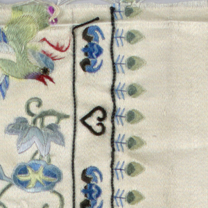 a/: panel design of flowers with grass hopper and bird surrounded by two borders, one showing heart-shapes, one showing heart shape alternating with bats, the other, a conventionalized leaf motif - b/: fragment of [a/: sleeve band] in the same design - see also objects which were originally part of same set with 1942-7-10-a,b/: 1942-7-10-c,d/ which are still accessioned.