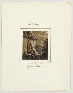Design for a painted porcelain plate, square format. A night time scene under a moonlit sky.  A figure of a young man, in the foreground, climbs a wall to reach a young girl who peers through a barred window.  An other woman, possibly her mother, leans from an attic window and pours a pitcher of water on the young suiter.