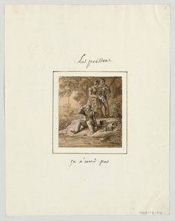 Design for a painted porcelain plate, square format. Scene at a river bank.  Figure of a man, center foreground, is seated at the river's edge holidng a fishing line in his left hand, while scratching his head with his right hand, apparently wondering why he is not catching any fish.  A hat, bucket, and a plate of bait (worms) are on the ground to his left.  A man and woman, center middleground, standing against a background of trees, admire a catch of three small fish.  A fisherman in a small boat appears in the left background.