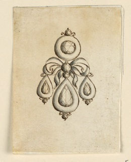 Jewelry design for an earring. Above, a round diamond in a circular frame. In the center, a knot with three drops.