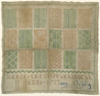 "Eighteen examples of pattern darning in a grid arrangement signed ""Marie Terese Fourbisseur.  Anno 1723."""