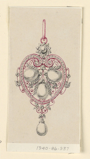 Drawing, Design for a pendant, 1865–85