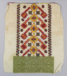 A solidly embroidered geometric pattern worked in olive green cotton decorates the top edge. The remainder is covered with a stylized floral and geometric repeat worked in brightly colored wools and metallic thread.