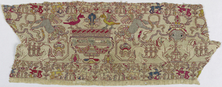 Linen band embroidered in colored silks and gold thread. Pattern is symmetrical with a design of central fountain with birds to the right and left. Above are winged figures with ribbons. Narrow border below of trees and animals.