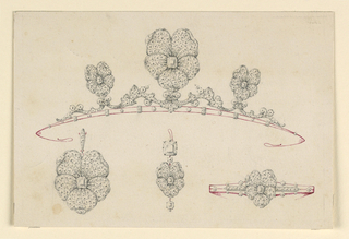 Drawing, Design for a diadem, bracelet, pendant and earring, 1865–85