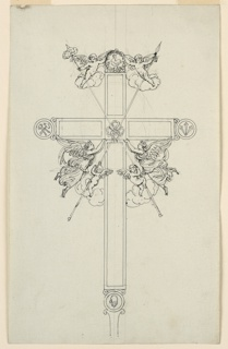 Vertical rectangle. A variation of the design 1938-88-665. Spear and sponge staffs are crossed in front of a cross, their bottom and top parts being held by pairs of flying angels. The upper ones hold with their bare hands a wreath on the cross. Circles are at the ends of the other parts of the cross. The cock is shown in the wreath on top, hammer and tongs in the circle at left, the nails at right, a hand at the bottom, the fetters in the center. Two flying angels support the cross arm.