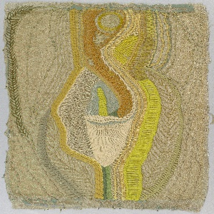 Abstracted image of a calla lily embroidered in yarns of various weights, in white and shades of yellow, green, brown and grey on a cream-colored silk foundation.