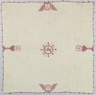 "Chalice cover showing chalices with ""IHS"" and seraphims. In red silk on linen."