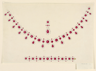 Drawing, Design for a Parure with Rubies and Pearls