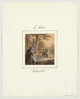 Design for a painted porcelain plate, square format. Outdoor scene with mountains in background and large trees, left middleground.  Figure of a woman with her arm around a young boy, left foreground.  They watch two rams courting, right middleground.  Three children, left background, observe the scene from behind a fence.