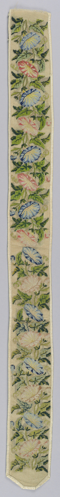 Design of pink and blue morning glories with green leaves, arranged on stems growing form ends of strip towards the center.  Bound and lined with ivory silk.  Worked in tent stitch.