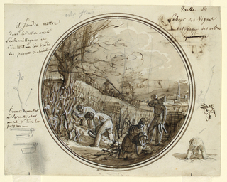 In foreground are three male and one female figures of vineyard workers: two men at left are bent over cutting and clearing vines with hoes. A woman in a kneeling position, empties a basket of cuttings into a pile on the ground.  A standing man, right forground, drinks from jug.  Large tree in left foreground. In distance at right, a small town in a valley with a church steeple.  Small sketches in margins, around central image: lower right:  a man bending over seen from the rear; right center, [perhaps] kneeling man seen from the rear; lower left, sketches of two hoes; left center, two branches with leaves.  Verso:  rough sketch, in circular format, of tall trees with sheds beneath; in margin, lower left: circular sketch of landscape; lower right:  two people loading or unloading objects from cart.