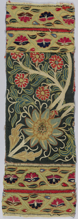 Unrelated pieces sewn together so that two yellow guard borders appear on the right and left of a dark green field section which has floral sprays in let-in wools in red and beige shading into pale blue (painted?) blue-green and tan with silk chain-stitch outlines and details in beige, yellow and orange.  Guard borders have a design of alternately up and down turned flower heads in scallops of serpentining stem in the same technique. Couched striped silk cords set off guard strip and field except at modern joining.