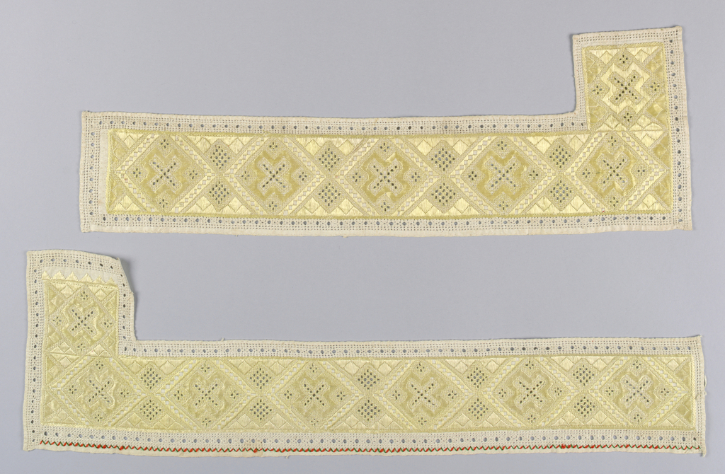 Pair of linen bands embroidered in yellow silk in a tight, allover geometric pattern.