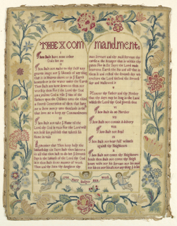 Within an elaborate floral border the Ten Commandments arranged in tablet form followed by signature and date.