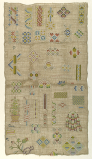 Isolated motifs in a 17th century manner.  Sampler has had much repair.  There are areas where silk has been removed from foundation.