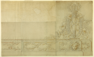 Panels of a dado with intertwined waved laurel boughs. A pedestal projects at right showing a female mask crowned with a coronet with a crescent and supporting a filled quiver which is topped by an oak wreath and stands before an oval frame from which the waved ribbons of a bow-knot and flower boughs drag.