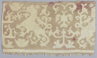 Band fragment showing a pattern of a fantastic animal and tree in faded red silk on a linen ground.
