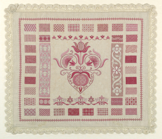 Thirty-four rectangles of pattern, central motif, and floral border in shades of pink.