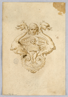 Design for a grotesque ornament with a pair of dragons and a mask. Below, a nude holding a tablet inscribed: VOCA
