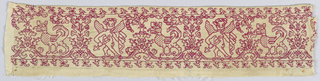 Small piece of deep cream linen embroidered in red silk showing a design of a highly stylized vine, symmetrically arranged to frame a figure of Amor with a bow and arrow facing a bird or wyvern. Tiny birds perch in the foliage and form a very narrow border above and below.