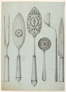 Shown upright in a row from left:  A two-forked spoon.  A dresser, showing a monogram GF in a laurel wreath.  A dresser, showing a fish in a wreath and surrounded by rinceaux.  A spoon, shown from the inside, showing circular bands with a chain and with palmette motifs, respectively, moldings, and a rosette in the center.  A soupspoon shown sidewise with the spout.  A knife.