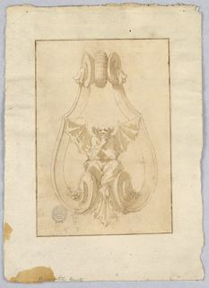 Design for a doorknocker with a pensive bad seated on the scrolling base, acanthus leaf below him.