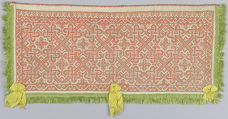 Small border with green fringe and yellow ribbons, embroidered with pink silk in an all-over lace pattern.