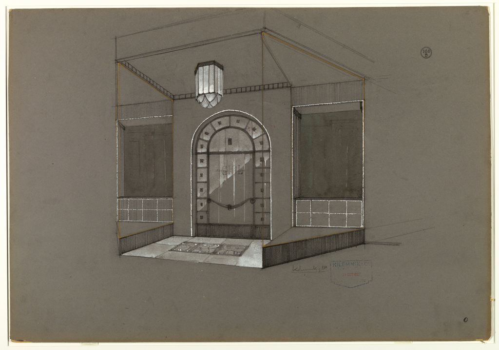 Elaborate glass/crystal and wrought iron store facade with deep entrance.  Hanging in entrance, a glass/crystal light fixture. On floor, a rectangular piece of wrought iron with abstract flower pattern.  On either side of central arched glass and wrought iron doorway (surrounded by a silver band) with shop name, triangular full-height window vitrines with wood (?) dado divided by silver band into rectangles on back wall.