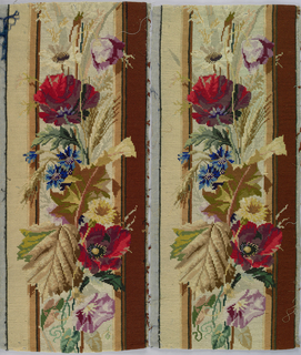 Two needlepoint panels, each with the same pattern, comprised of a vertical arrangement of semi-naturalistic flowers and leaves in multi-colored wool on a beige silk background. Plain rust-brown band on right and plain tan band on left.